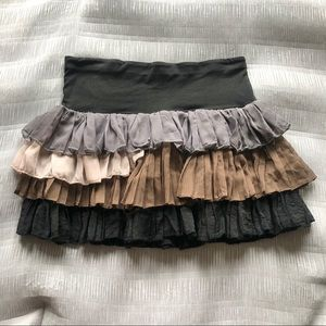 Ruffled Mini Skirt Hippie Medium Elastic Waist